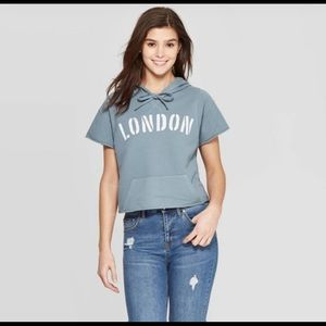 Grayson threads London short sleeve cropped hoodie